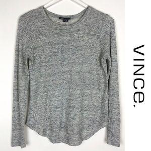 VINCE | Linen Long Sleeve Tee Top